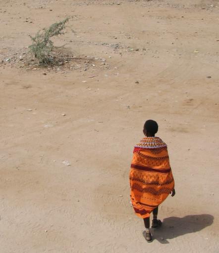 A Samburu woman in the desert.